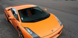 An orange Lamborghini Gallardo Spider