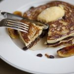 BANANA-CHOCOLATE CHIP PANCAKES, MAPLE BUTTER