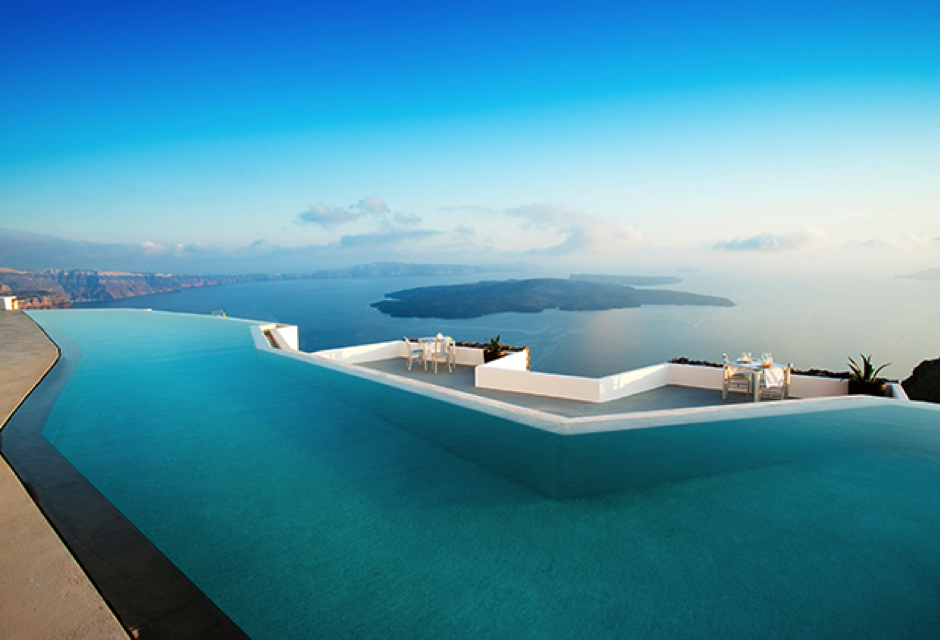 On the 3rd place is this boutique hotel with a fantastic pool and views of the Greek Aegean: The Grace Hotel in Santorini. Photo: Grace Hotels