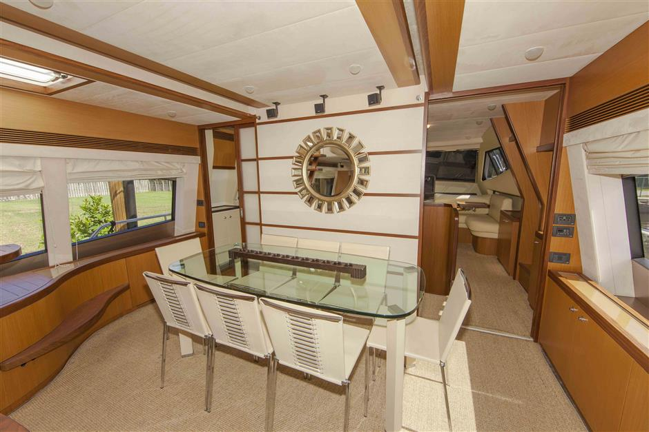 73´Ferretti motor yacht for sale, dining area